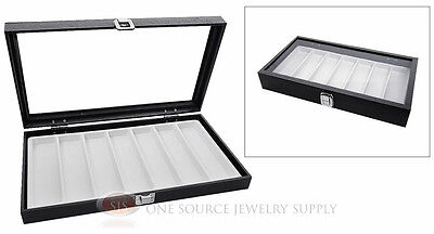 Glass Top Jewelry Organizer Display Case 7 Slot Compartment White Insert Travel