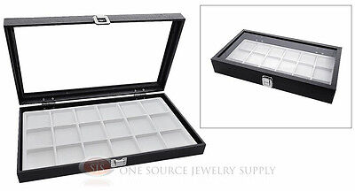 Glass Top Jewelry Organizer Display Case 18 Compartment White Insert Travel