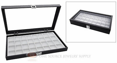 Glass Top Jewelry Organizer Display Case 32 Compartment White Insert Travel