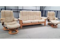 Ekornes Stressless 3 seater recliner & 2 recliner chairs & 2 footstools leather
