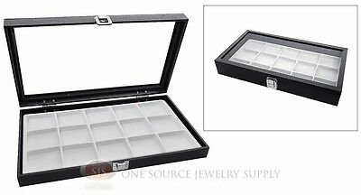 Glass Top Jewelry Organizer Display Case 15 Compartment White Insert Travel