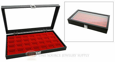 Glass Top Jewelry Organizer Display Case 28 Compartment Red Insert Travel