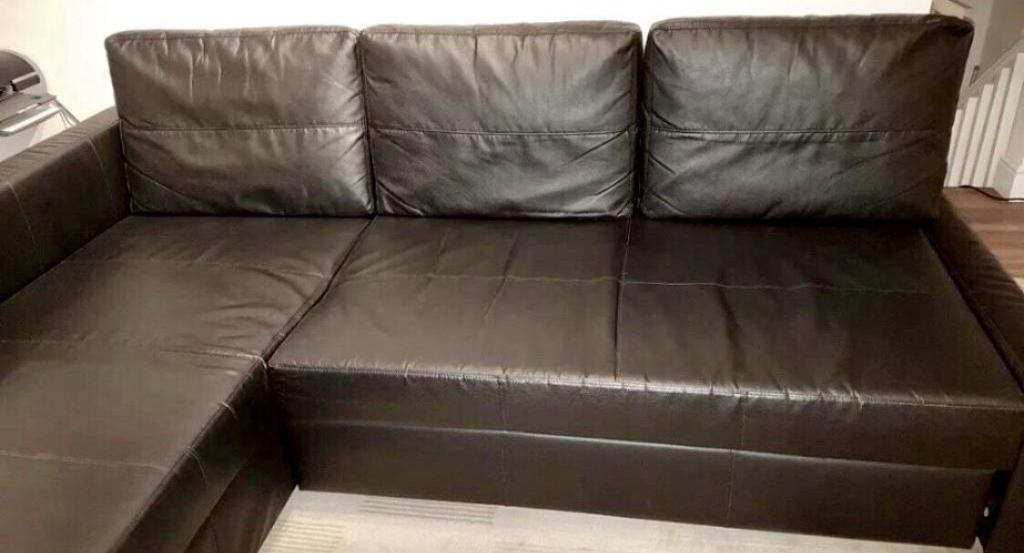 Ikea Farihiten Corner Sofa Bed Black Leather Colour With Storage Good Condi Stain