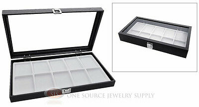 Glass Top Jewelry Organizer Display Case 10 Compartment White Insert Travel