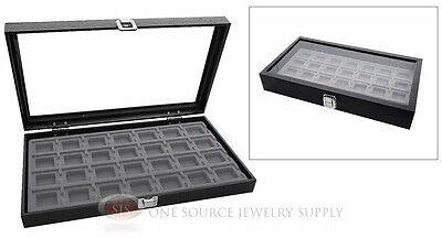Glass Top Jewelry Organizer Display Case 28 Compartment Gray Insert Travel