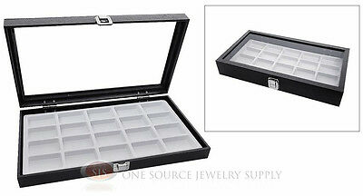 Glass Top Jewelry Organizer Display Case 20 Compartment White Insert Travel