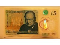 NEW Polymer Five Pound Note £5.00 AA04 224243