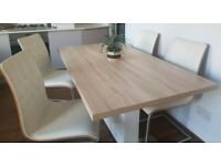 4 Cream Faux Leather Bent Wood & Chrome Cantilever Chairs FREE DELIVERY 5062