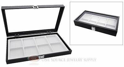 Glass Top Jewelry Organizer Display Case 8 Compartment White Insert Travel
