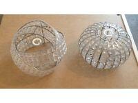 2x ceiling light shades , imitation glass crystal type
