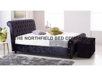 CHESTERFIELD UPHOLSTERED CRUSHED VELVET & CHENILLE FABRIC SLEIGH BED FRAME ONLY 3FT, 4FT,6, 5FT, 6FT