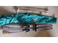 Ladies Salomon X-Free 8L skis skis and Salomon bindings + poles + carry bag