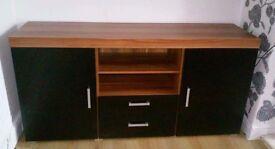 Large 2 Door 2 Drawer Sideboard Black Cupboard TV Cabinet Furniture