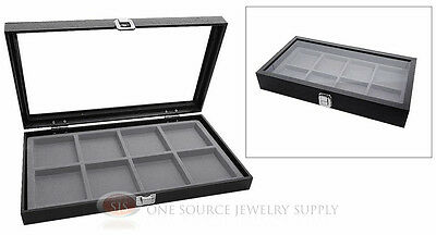 Glass Top Jewelry Organizer Display Case 8 Compartment Gray Insert Travel