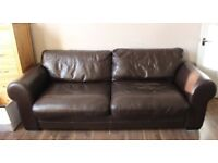 3 Seater sofa and armchair - leather - Chocolate brown