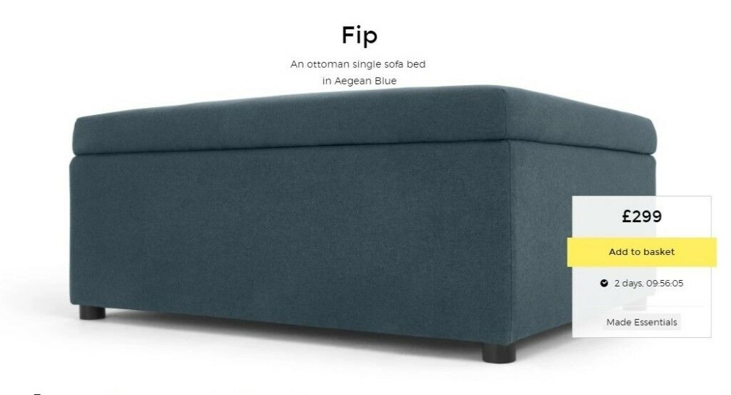 Made Com Fip Ottoman Single Sofa Bed Folding Guestbed With Mattress Pouffe Aegean