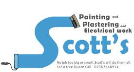 Painter, painting, electrician, electrics, plastering, plasterer, joiner. Scott's building service