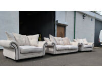 Light fabric chesterfield style 4 seater sofa and 2 large cuddle chairs VGC DELIVERY AVAILABLE