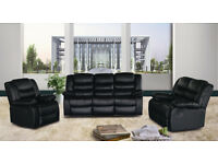 Louisa 3+2 seater leather recliner sofa - black/brown/red/white