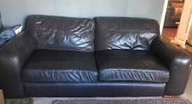 Brown leather 3 seater and 2 seater sofas