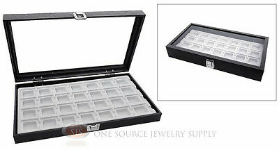 Glass Top Jewelry Organizer Display Case 28 Compartment White Insert Travel