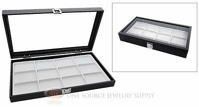 Glass Top Jewelry Organizer Display Case 12 Compartment White Insert Travel