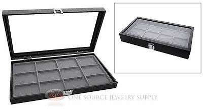 Glass Top Jewelry Organizer Display Case 12 Compartment Gray Insert Travel