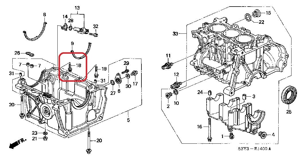 ENGINE BLOCK PAN BOLT-WASHER, SPECIAL (6X22) GENUINE HONDA