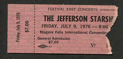 1976 Jefferson Starship concert ticket stub Niagara Falls Spitfire Miracles