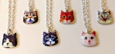 Orange Cat Necklace (Cat Necklace Enamel Alloy Tabby Black White Orange Red Silver 20