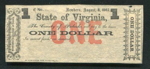1862 $1 ONE DOLLAR THE COUNTY OF PULASKI NEWBERN, VA OBSOLETE SCRIP NOTE UNC