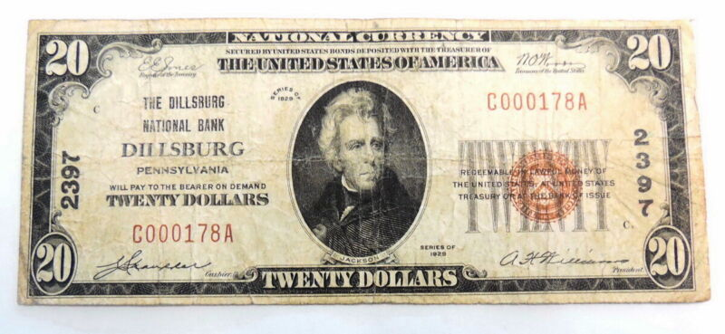 1929 $20 National Bank Dillsburg PA 2397 National Currency Paper Money Note