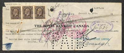 Bill Of Exchange The Royal Bank Of Canada Scott  196  X3  Stamps 1936