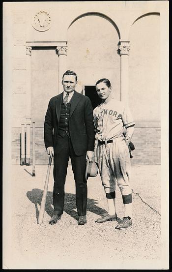 1924 Washington Baseball Walter Johnson Photo With Baltimore Player From Estate