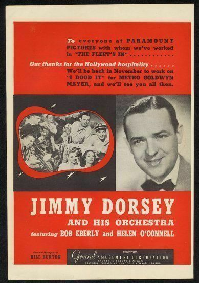 1942 Jimmy Dorsey photo music gig booking vintage print ad