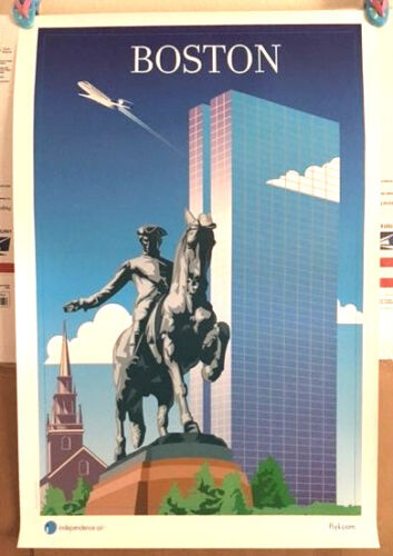 INDEPENDENCE AIR POSTERS BOSTON  NEW OLD STOCK