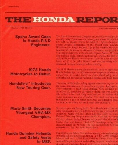 1974 October Honda Report #10 Vintage Motorcycle Ad