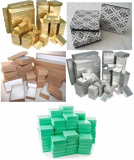 Jewelry - LOT of 20, 50, 100 PCS COTTON FILLED JEWELRY BOX NECKLACE BOX JEWELRY GIFT BOX