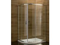 1000 x 800 Offset Quadrant shower door 6mm thick glass for £75