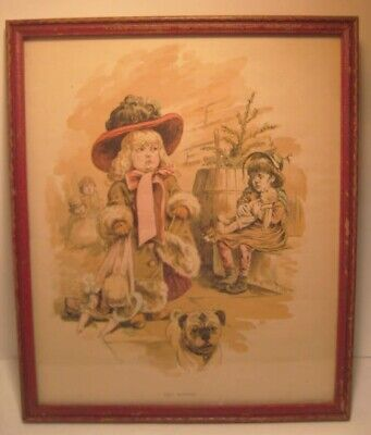Old 1890 Lithograph from Puck Magazine Christmas Issue - Two Mothers - Pug Dog ()