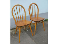 Pair of 1970s Ercol Dining/Occasional/Desk Chairs. Elm & Beech. Vintage/Retro/Mid Century.