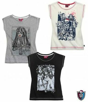 Monster High T-Shirt Sommer  Kurzarm  Weiß Schwarz Grau Gr. 128 140 152 164 Neu (T-shirt Monster High)