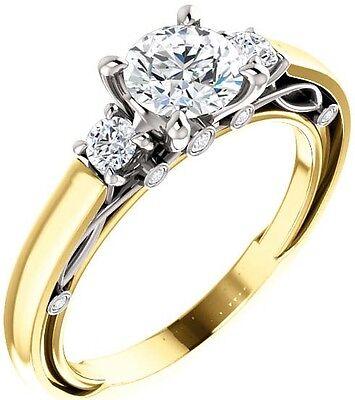 1 carat Round Diamond Vintage Wedding 14k Two Tone Gold Solitaire Ring GIA E VS1