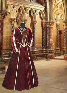 Medieval-Renaissance-Tudor-Style-Dress-Gown-Handmade-from-Brocade-and-Velvet