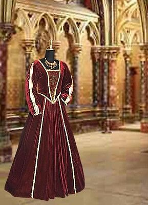 Medieval Renaissance Tudor Style Dress Gown Handmade from Brocade and Velvet - Medieval And Renaissance Costumes