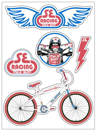 Se Racing Bikes BMX Bike Decal Set Big Ripper Blue
