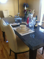 Beautiful granit table with chair