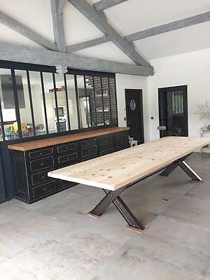 Grande table de 3 m industrielle loft salle manger h te for Ameublement traduzione