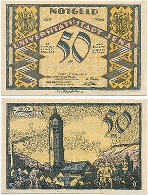 Jena, 1 Schein Notgeld 1921, St. Michael, Arbeiter Optik Fabrik, 50 Pfennig