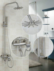 """Nickel Brushed Finish Shower Faucet with Handheld 8"""" Showerhead"""